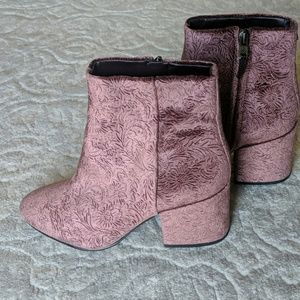 Crushed velvet booties